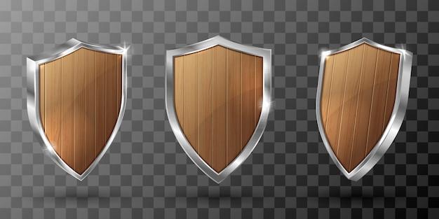 金属フレームの現実的なトロフィーと木製シールド