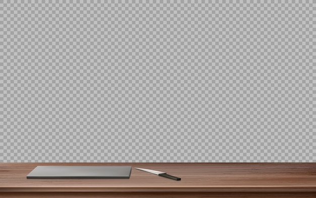 まな板とナイフでキッチン木製テーブル