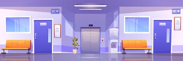 Интерьер больничного коридора, зал медицинской клиники