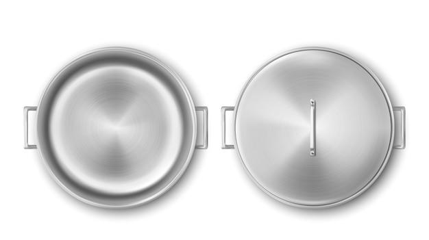 空の金属鍋、鋼調理鍋上面図