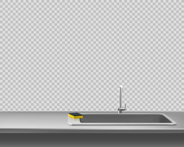 鋼のカウンタートップにスポンジが付いている台所金属の流し