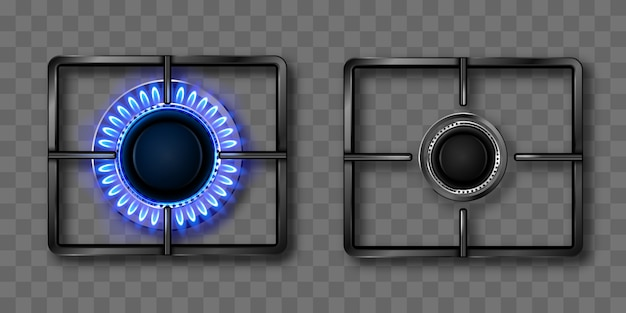 青い炎と黒い鋼鉄格子が付いているガスバーナー