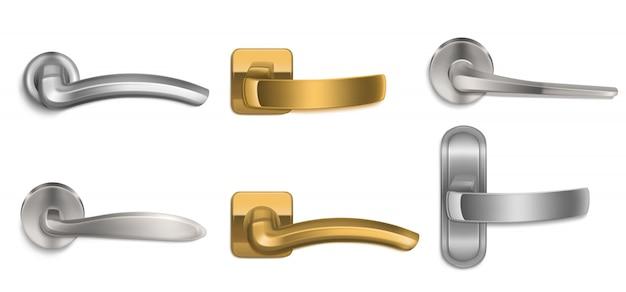 現実的なドアは金と銀のノブセットを処理します