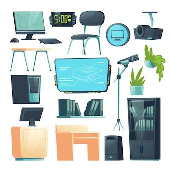 学校のコンピューター教室のベクトル家具