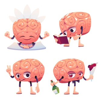 さまざまなポーズのかわいい脳キャラクター
