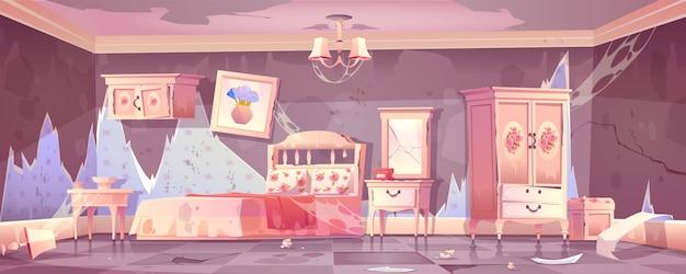ぼろぼろのシックなスタイルの古い汚い寝室