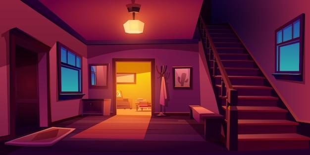 木製の階段と素朴な家の廊下のインテリア