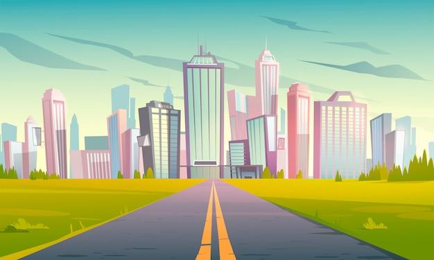 Городской пейзаж с шоссе, дорогой и городом