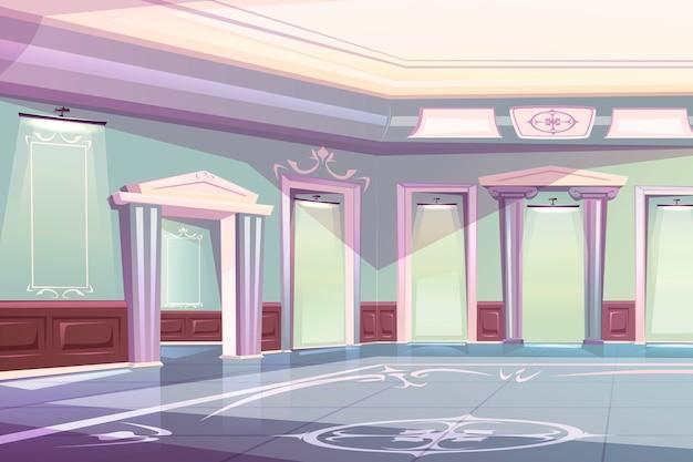 エレガントな宮殿のボールルーム、美術館ギャラリーのインテリア