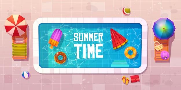 Летнее время, вид сверху на бассейн