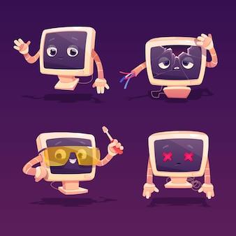 Ремонт компьютера. симпатичный компьютерный настольный сломанный персонаж