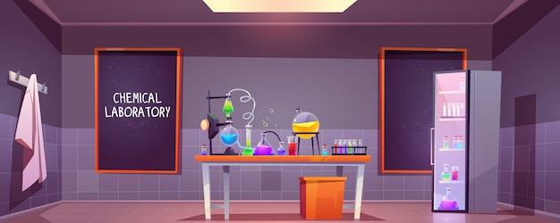 ガラスフラスコと化学実験室インテリア