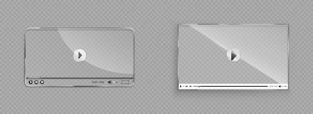 Стеклянный интерфейс видеоплеера, прозрачное окно