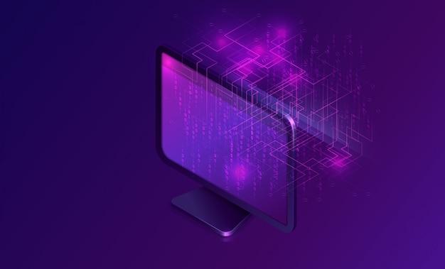 Компьютер с большим потоком данных изометрической баннер