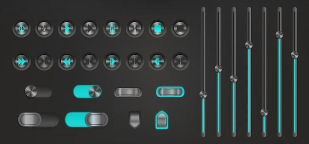 ネオンバックライト付きのコントロールボタン。メディアプレイヤー