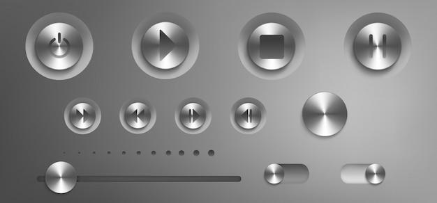 スチール製のボタンとノブを備えた音楽コントロールパネル