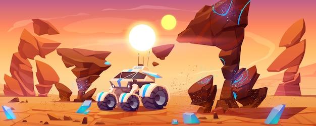 赤い惑星表面の火星探査車が風景を探索