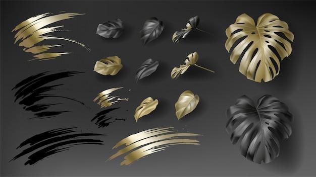 熱帯の黒と金のモンステラ