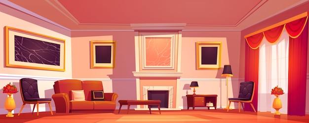 Старый роскошный интерьер гостиной с камином