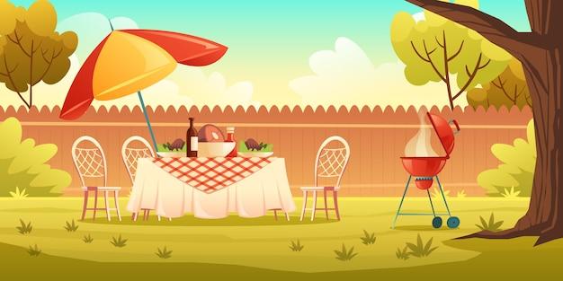 Вечеринка барбекю на заднем дворе с грилем