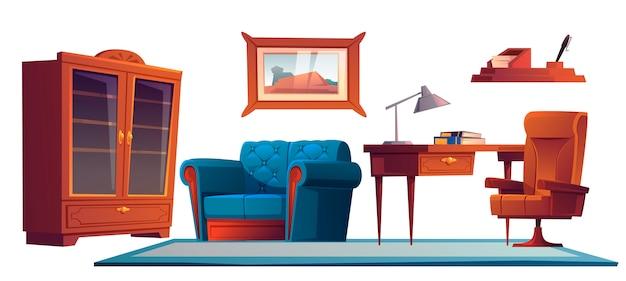 古いアンティークスタイル、家具セットの高級オフィス