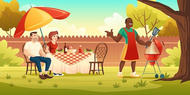 バーベキューパーティー、調理グリル付きの裏庭でのピクニック