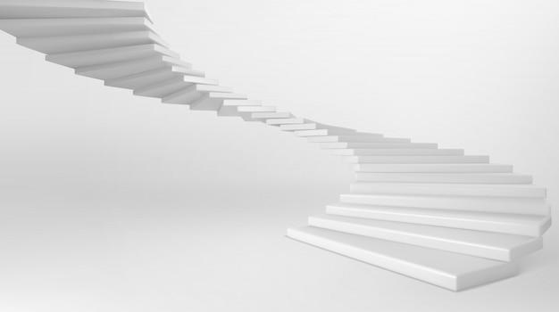 Белая винтовая лестница с бетонными ступеньками