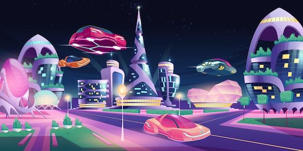 未来の夜の街の未来的な建物の空飛ぶ車