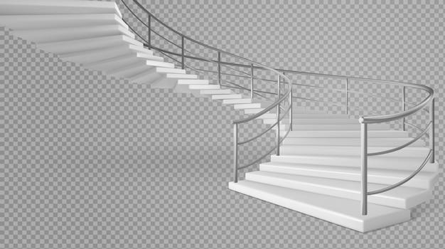 手すりが付いているらせん階段の白い階段