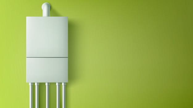 壁にプラスチック製のチューブが付いているボイラー給湯器