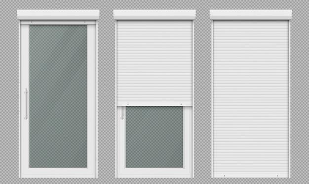 白いローリングシャッター付きガラスドア