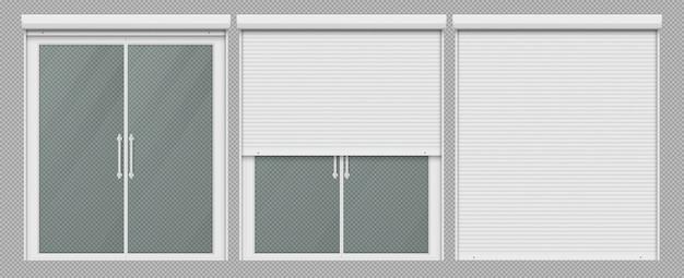 ローラーシャッター付きの二重窓を開閉