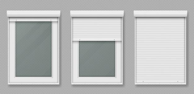 白いローリングシャッター付きのプラスチック製の窓