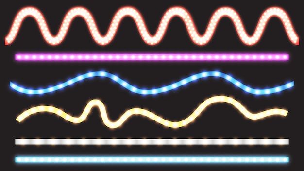 Векторный набор светодиодных полос с эффектом неонового света