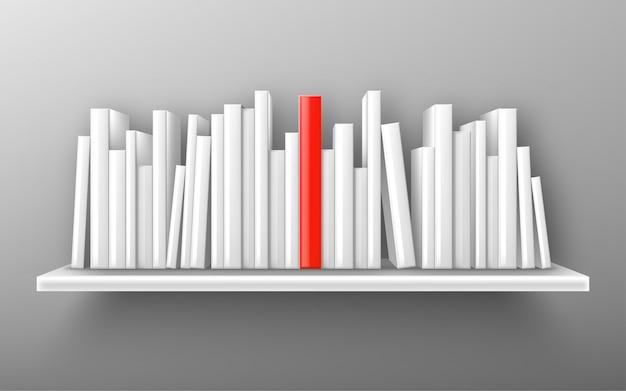 Книги на белой книжной полке, бестселлер вектор макет