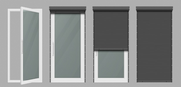 白いローリングシャッター付きのガラスドアまたは窓