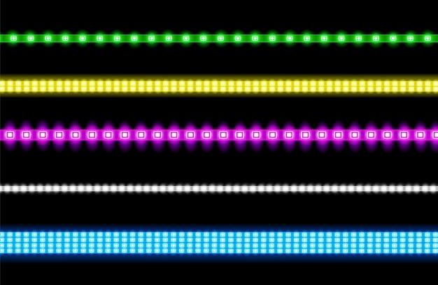 Векторный набор светодиодных полос с эффектом неонового свечения