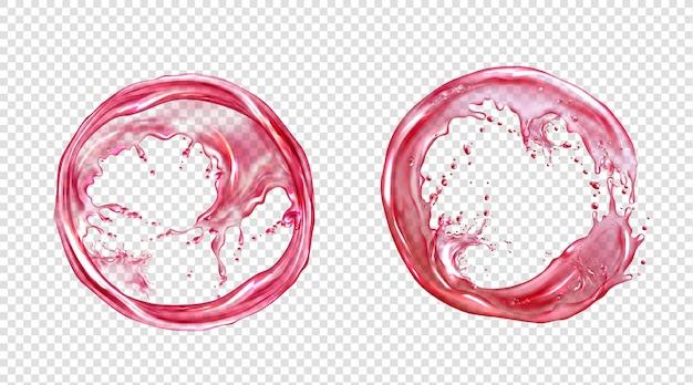 ジュースやピンクの水のベクトル円スプラッシュ