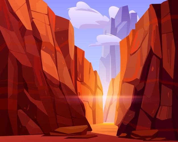 赤い山と峡谷の砂漠の道