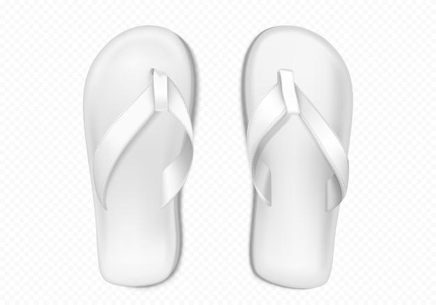 ビーチやプール用の白い夏のゴム製スリッパ