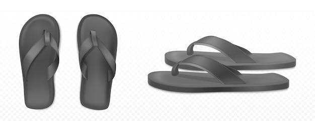 ビーチやプールのための黒の夏のゴム製スリッパ