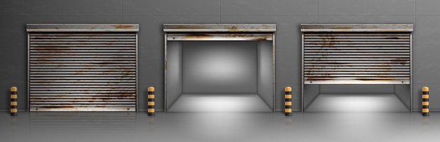 さびたガレージのドア、倉庫、格納庫の入り口