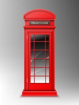 Винтажная красная телефонная будка, классическая коробка телефона лондона ретро.