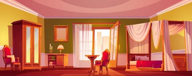 朝または日の時間で豪華な古い寝室のインテリア。