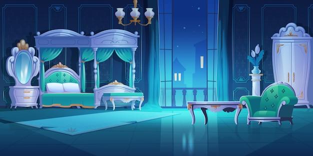 Ночная спальня, интерьер в стиле барокко, винтажная комната с роскошной мебелью, кровать с балдахином, лампа, шкаф для одежды, зеркало, стол и кресло, темная квартира с открытой балконной дверью, карикатура, иллюстрация.