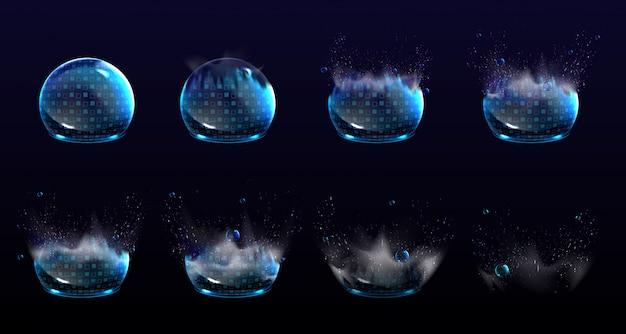 壊れたバブルシールド、爆発保護力場。安全エネルギーバリアバーストの段階の現実的なセット。青い幾何学模様の破損した輝き球