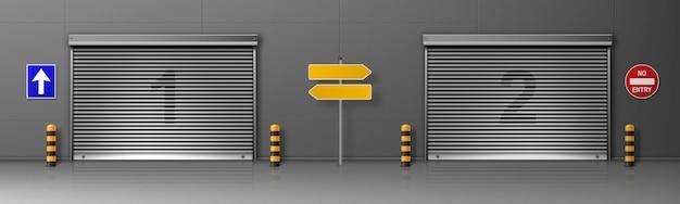 Ворота с металлическим затвором в здании логистического центра. реалистичные иллюстрации грузовых дверей на складе или в распределительном центре с жалюзи. коммерческий гараж с автоматическими дверями