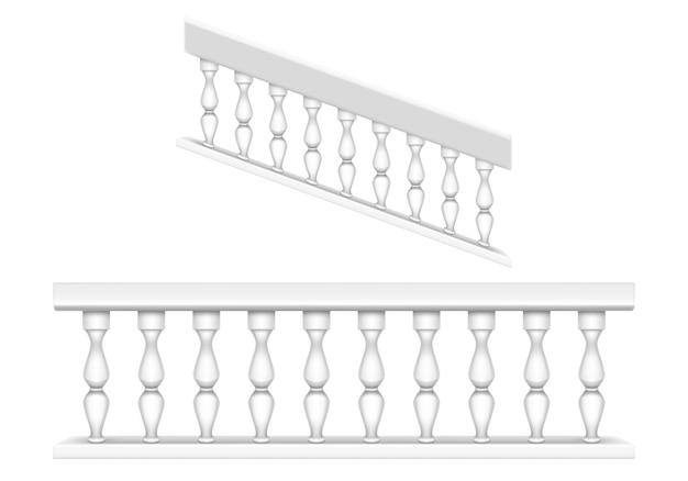 バルコニー、ポーチ、または庭用の白い大理石の手すり、クラシックなローマ風の階段用の手すり。バロック式の石の手すり、柱と手すり、列とアンティークフェンスの現実的なセット
