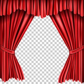 Открытые красные шелковые шторы