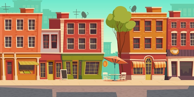 小さなお店とレストランのある都市通りのイラスト